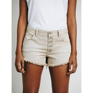 Free People Runaway Slouch Cutoffs Taupe 27 28